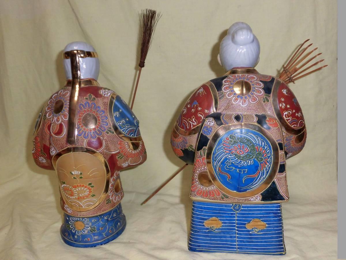 高さ約29.5センチ 美品 九谷焼 八幡窯 細密 色絵金彩 高砂人形 翁 置物 古美術 縁起物_画像3