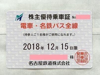 名鉄(名古屋鉄道)電車・バス全線株主優待乗車証(定期券式)送料込