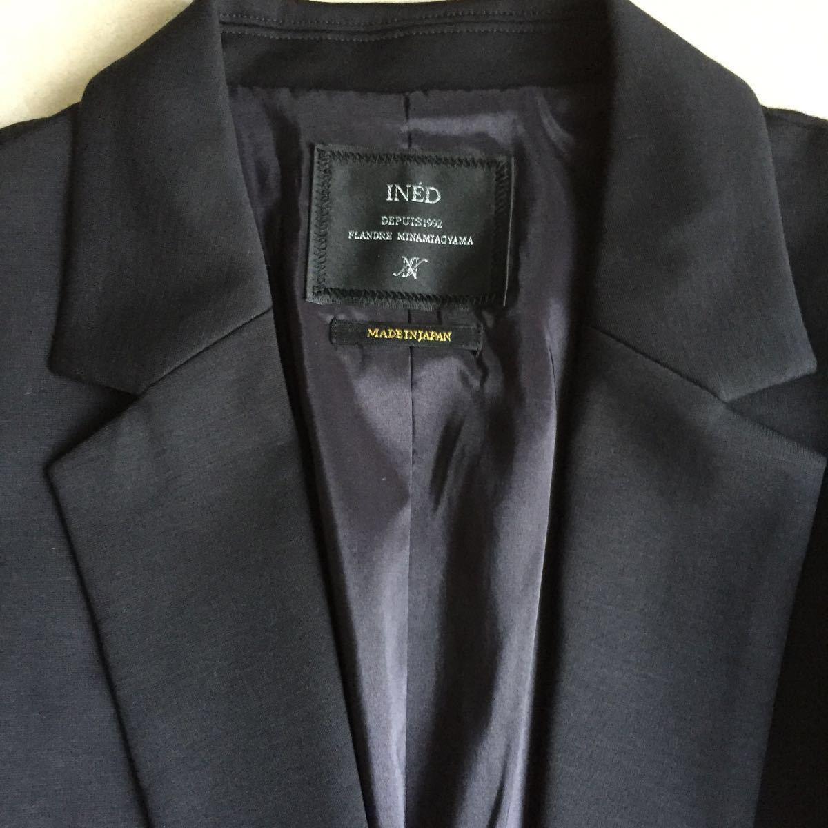 新品タグ 未着 INED イネド 手洗い可 シャイニーテーラードジャケット サイズ13 ネイビー 日本製 定価34.000+税_画像4