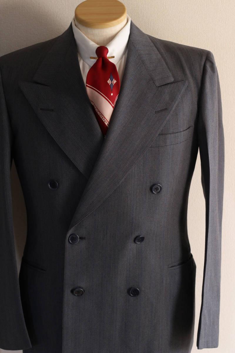 [値下げ交渉可] 1930s 1940s 高級 ビンテージ 2ピース スーツ ストライプ ブルー グレー 30s 40s 50s 2pc ツーピース dry bones RRL レトロ_画像5