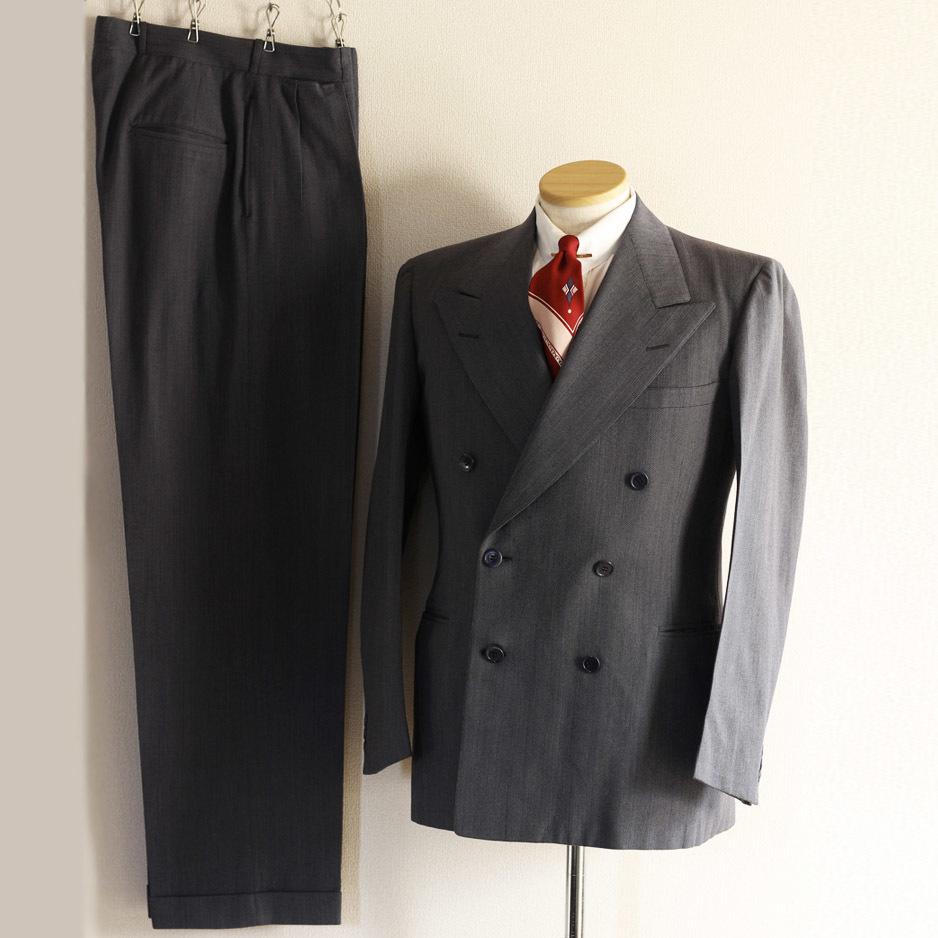 [値下げ交渉可] 1930s 1940s 高級 ビンテージ 2ピース スーツ ストライプ ブルー グレー 30s 40s 50s 2pc ツーピース dry bones RRL レトロ_画像1