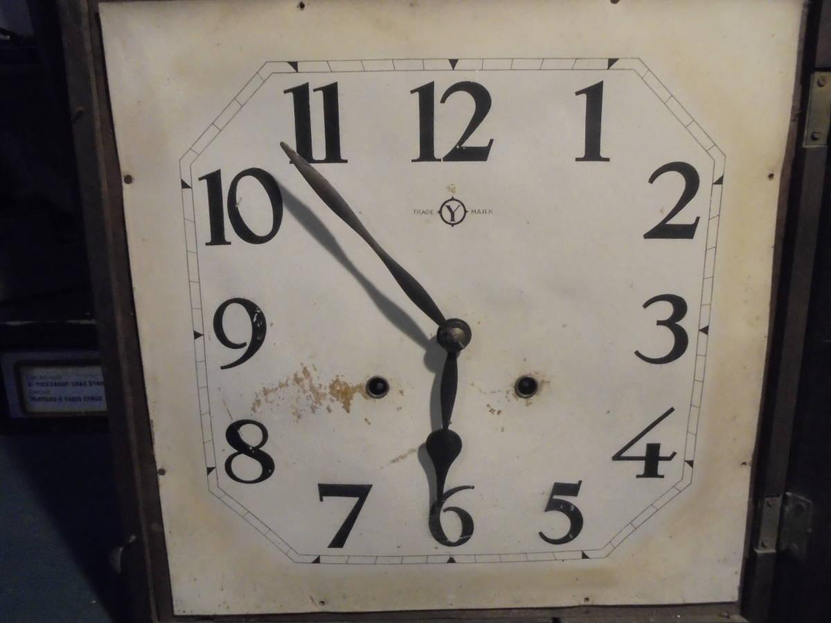 【四角い木製柱時計】木彫鍵付き掛時計古時計古道具振り子時計ネジ巻きアンティークインテリア家具インダストリアルclockガラス文字盤真鍮_画像6