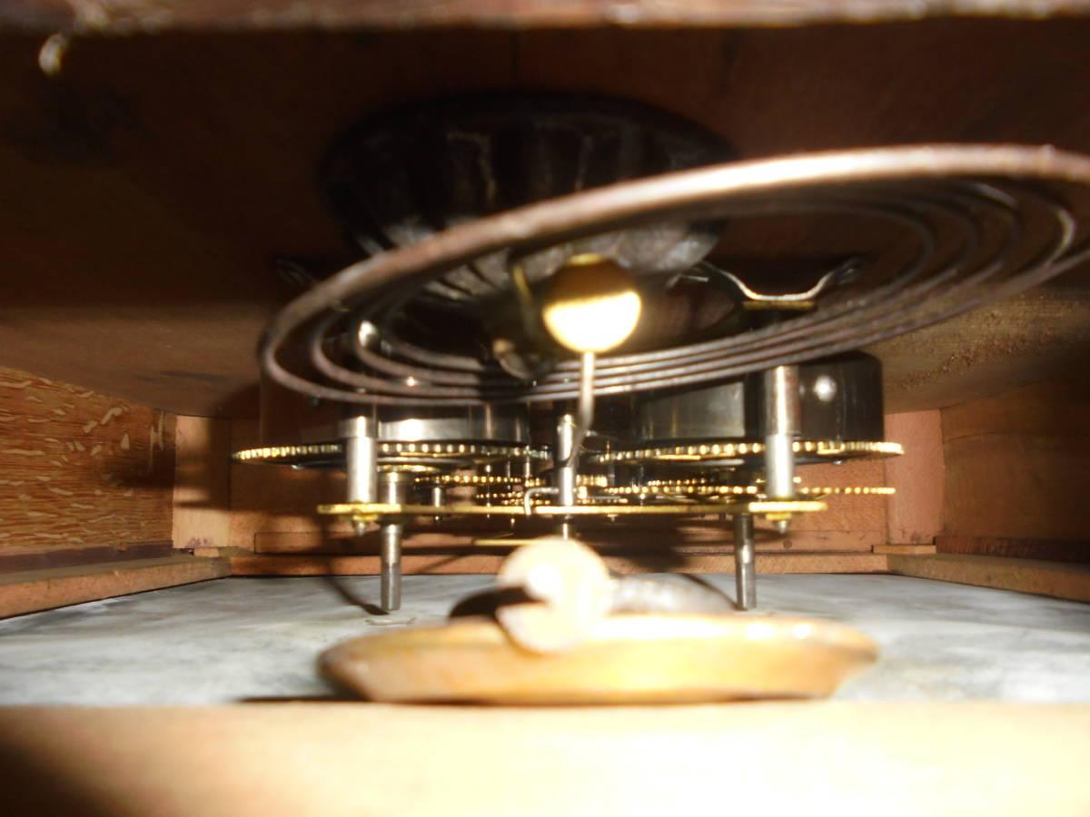 【四角い木製柱時計】木彫鍵付き掛時計古時計古道具振り子時計ネジ巻きアンティークインテリア家具インダストリアルclockガラス文字盤真鍮_画像10