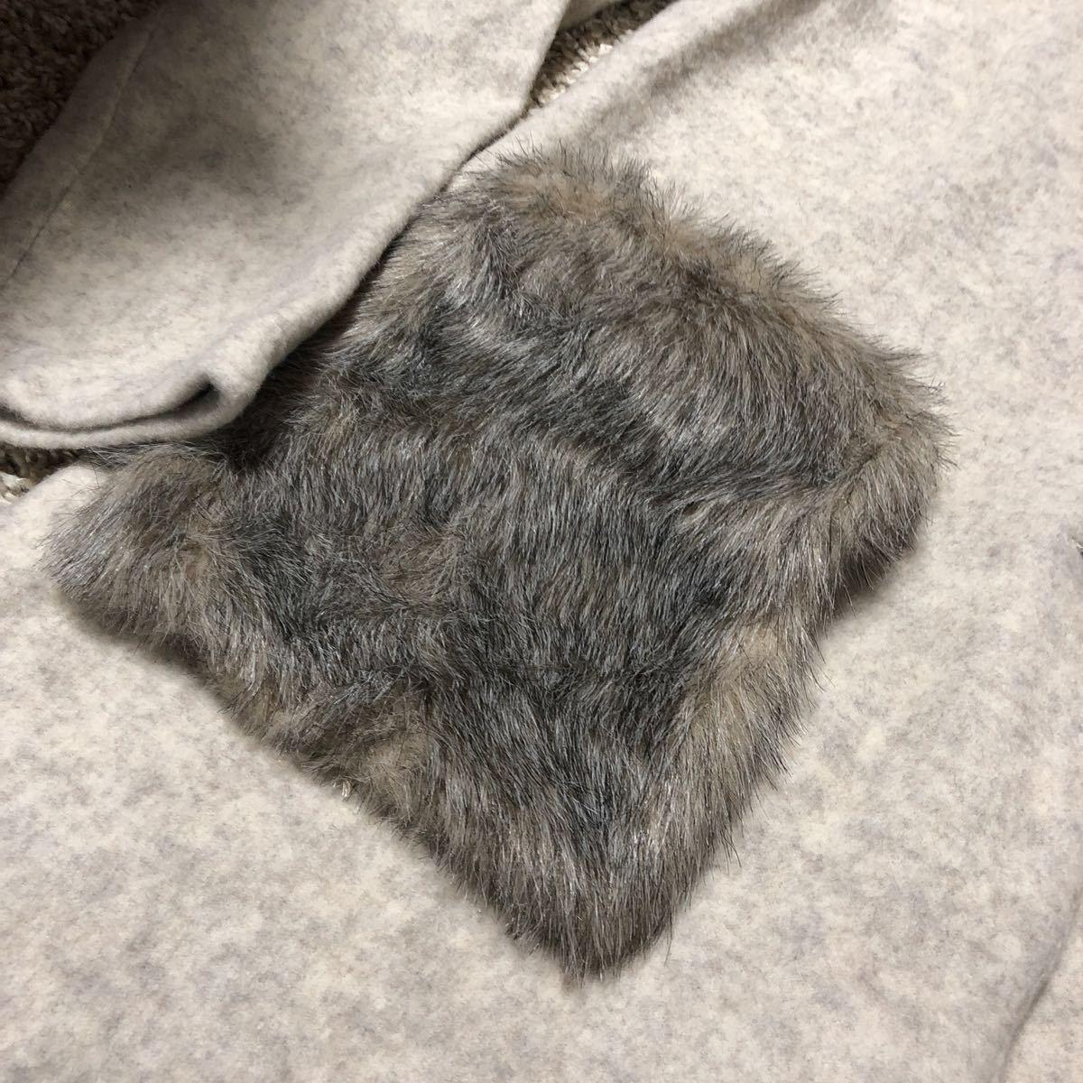 商店渠道風格Ravie風格·Ravi(米色)保暖夾克外套開衫與口袋毛皮(毛皮可拆卸) 編號:v587505716
