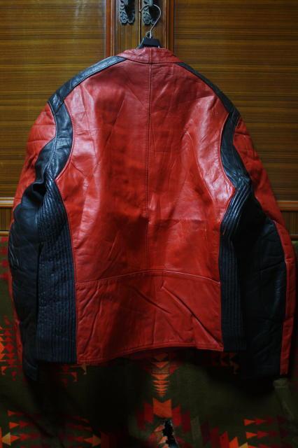希少 赤×黒 70s ビンテージ 変型 2トン UK ロンジャン ライダース ■ モーターサイクル レザー ジャケット ユーロ イギリス ルイスレザー_画像3