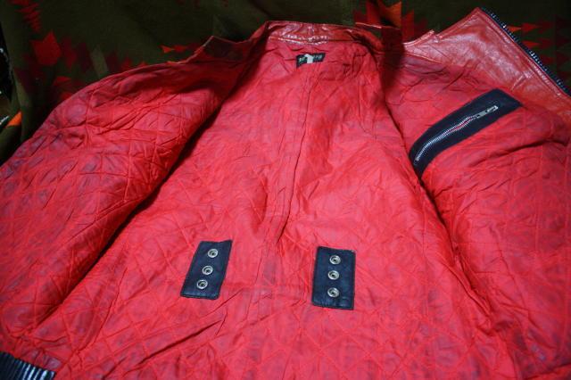希少 赤×黒 70s ビンテージ 変型 2トン UK ロンジャン ライダース ■ モーターサイクル レザー ジャケット ユーロ イギリス ルイスレザー_画像4
