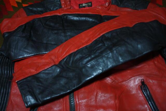 希少 赤×黒 70s ビンテージ 変型 2トン UK ロンジャン ライダース ■ モーターサイクル レザー ジャケット ユーロ イギリス ルイスレザー_画像9