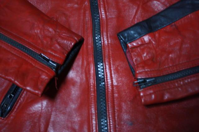 希少 赤×黒 70s ビンテージ 変型 2トン UK ロンジャン ライダース ■ モーターサイクル レザー ジャケット ユーロ イギリス ルイスレザー_画像10