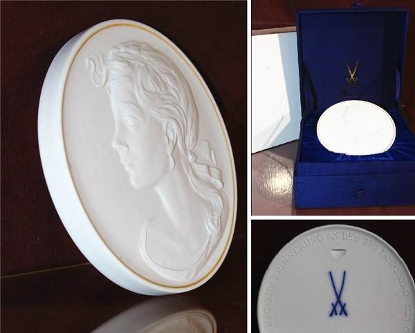 【華】ーMeissenー マイセン 陶板 メダル 中国美術 〈真作〉 ウ2755_画像1