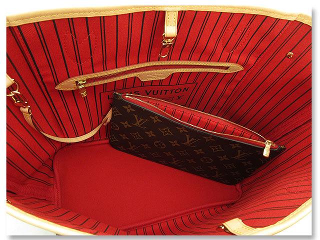 中古美品 ルイヴィトン LOUIS VUITTON トートバッグ モノグラム ネヴァーフルMM M41177 通勤 通学 マザーズバッグ A4 2way バック 送料無料_内側のレッドカラーが目を惹きます^^