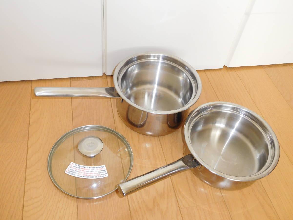 アサヒ軽金属◆ガラスのプリンセスなべ3点セット(プリンセスなべL、プリンセスなべS、共用ガラス蓋)3点セット_画像1