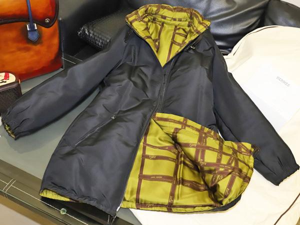 極上品 HERMES 直営店メンテ済 幻のツイリーコレクション ダブルフェイスダウンコート 黒 ジャケット ブルゾン 収納バッグ付 本物 正規
