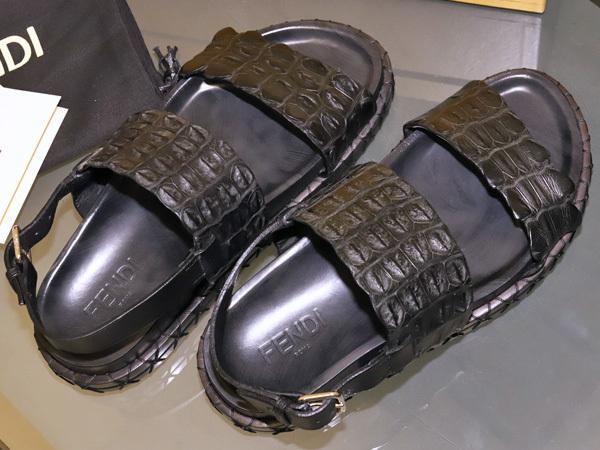 新品 FENDI HOMME 絶盤15SSコレクション限定リアルクロコダイルレザーサンダル メンズ7 紳士靴 クロコシューズ 箱シューバッグ付 本物 正規_画像7