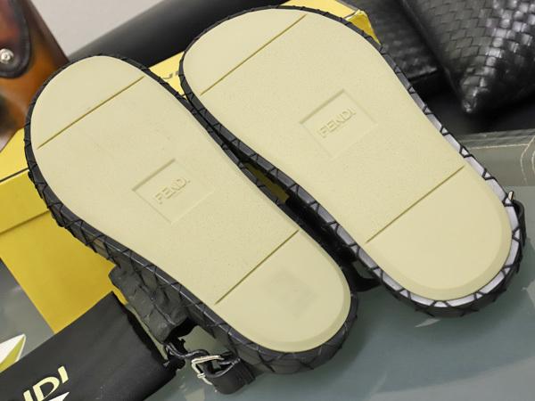 新品 FENDI HOMME 絶盤15SSコレクション限定リアルクロコダイルレザーサンダル メンズ7 紳士靴 クロコシューズ 箱シューバッグ付 本物 正規_画像8