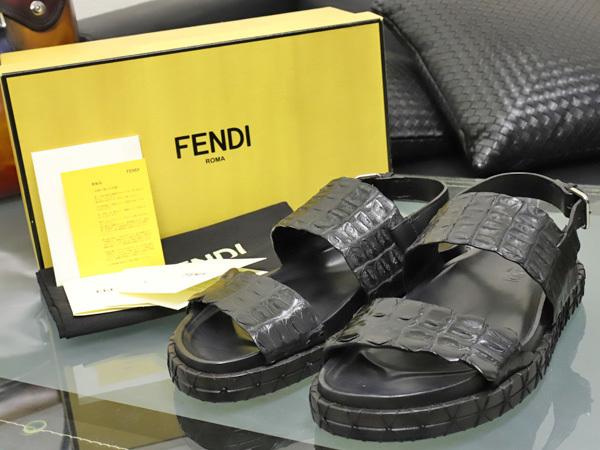 新品 FENDI HOMME 絶盤15SSコレクション限定リアルクロコダイルレザーサンダル メンズ7 紳士靴 クロコシューズ 箱シューバッグ付 本物 正規_画像2
