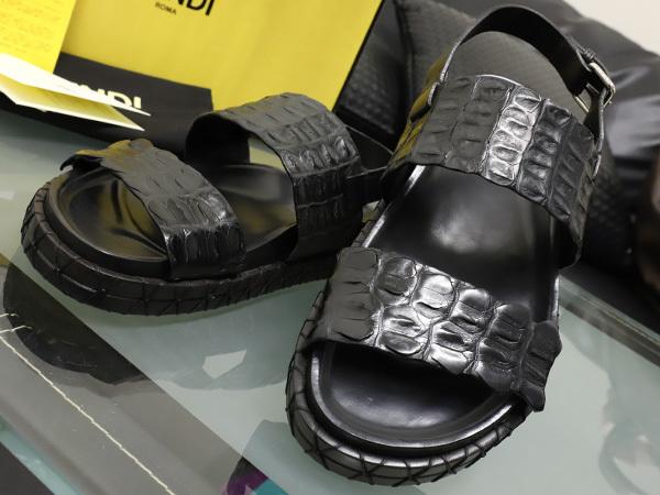 新品 FENDI HOMME 絶盤15SSコレクション限定リアルクロコダイルレザーサンダル メンズ7 紳士靴 クロコシューズ 箱シューバッグ付 本物 正規_画像3