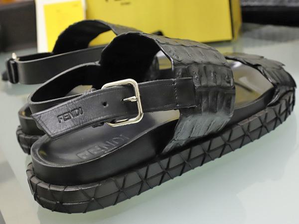 新品 FENDI HOMME 絶盤15SSコレクション限定リアルクロコダイルレザーサンダル メンズ7 紳士靴 クロコシューズ 箱シューバッグ付 本物 正規_画像6
