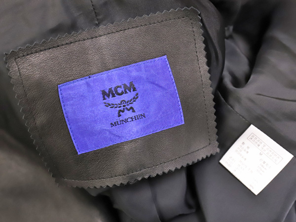 極上品 MCM 絶盤 13AWコレクション限定ピラミッドスタッズデュアルレザーブルゾン メンズM 黒 ブラック 紳士服 ジャケット 本物 正規_画像8