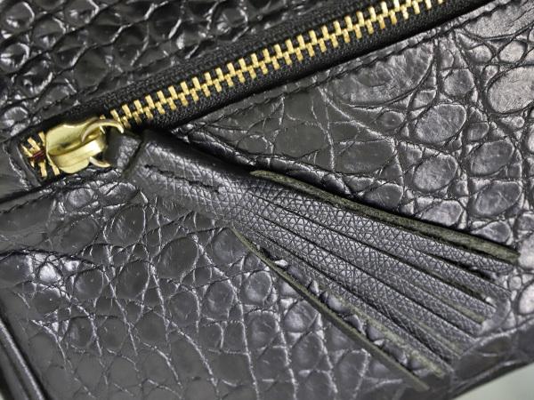 超美品 ファルチ Falchi 最高級リアルマットクロコダイルレザー斜め掛けショルダーバッグ 黒 ブラック 三層クロコレザーバッグ 本物 正規_画像4