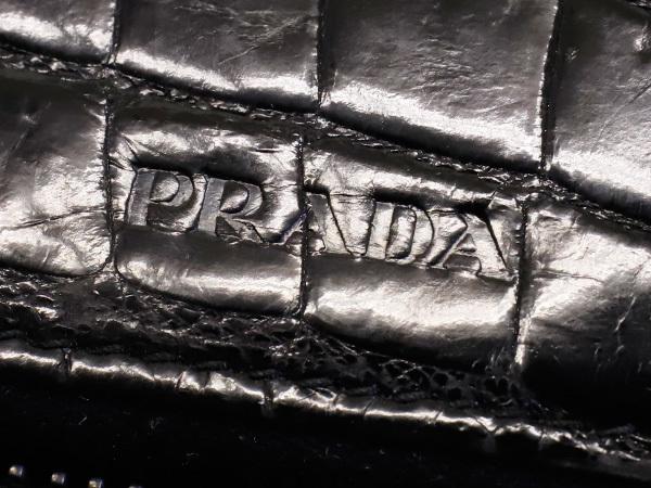 プラダ PRADA 極希少 最高級リアルクロコダイルレザー ジップドウォレット 黒 ブラック 小銭入れ付きクロコレザーメンズ長財布 本物 正規