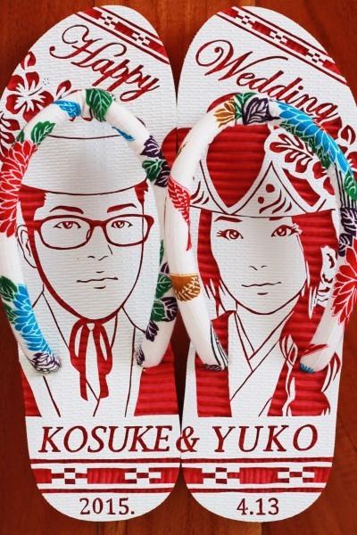 沖縄で人気の結婚式ウェルカムボード用紅型似顔絵島ぞうりアート_画像1