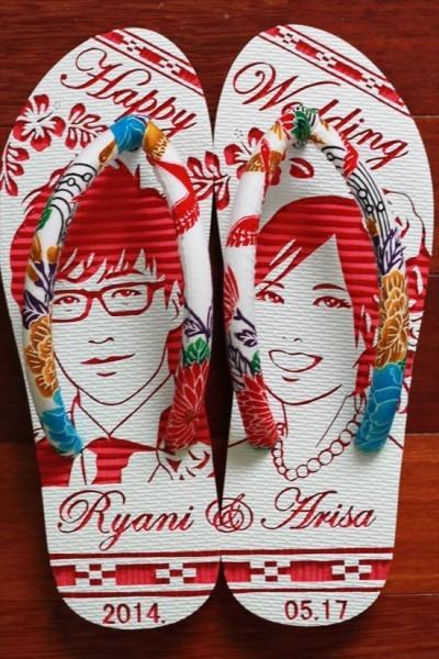 沖縄で人気の結婚式ウェルカムボード用紅型似顔絵島ぞうりアート_画像4
