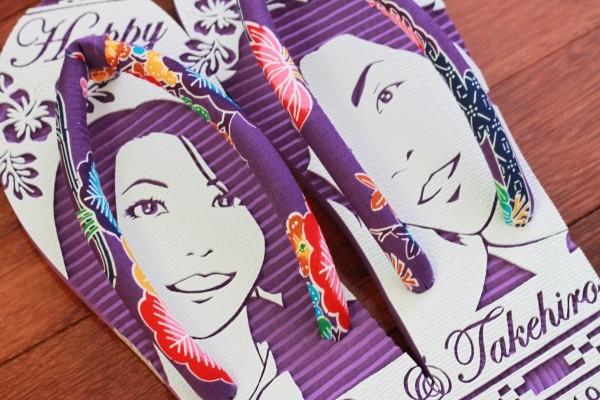 沖縄で人気の結婚式ウェルカムボード用紅型似顔絵島ぞうりアート_画像9