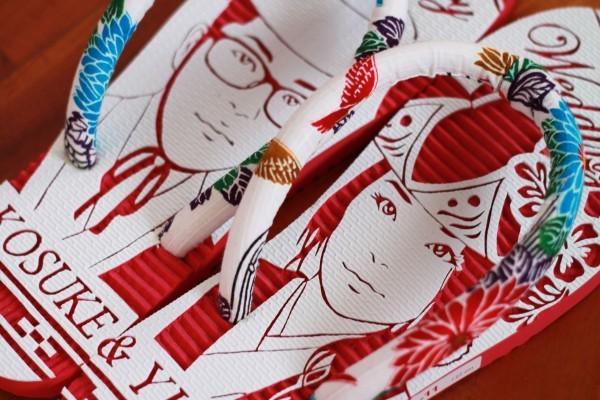 沖縄で人気の結婚式ウェルカムボード用紅型似顔絵島ぞうりアート_画像2