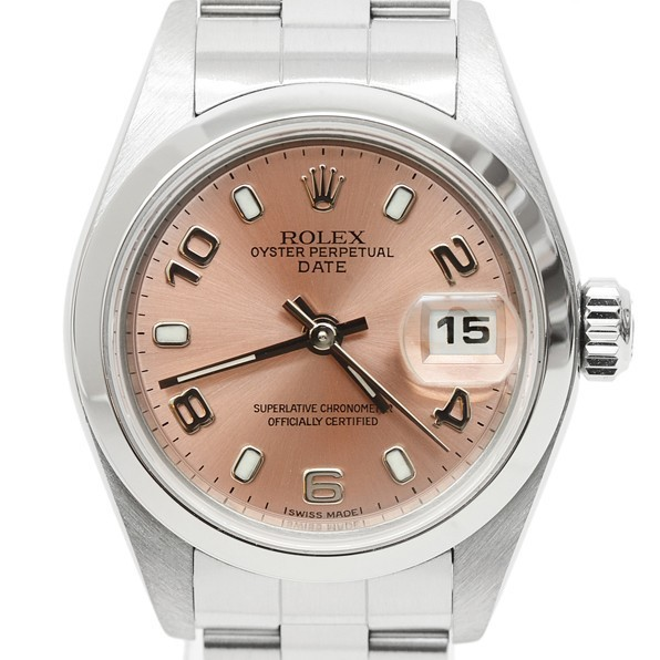 7p1325 税込即決! ROLEX オイスターパーペチュアル デイト 79160 F番 オーバーホール・仕上済 ロレックス ピンク レディース 腕時計