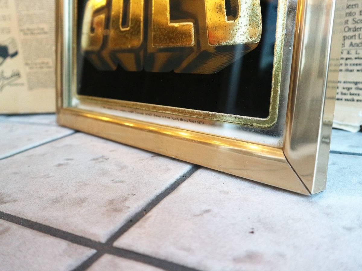 ビンテージ Coors COLD GOLD パブミラー クアーズ アメリカ インテリア小物 看板 壁掛け 飾り ウォールデコ BAR 鏡_画像4