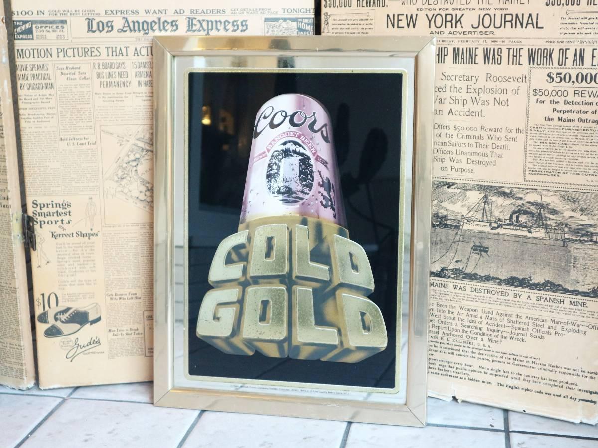 ビンテージ Coors COLD GOLD パブミラー クアーズ アメリカ インテリア小物 看板 壁掛け 飾り ウォールデコ BAR 鏡_画像2
