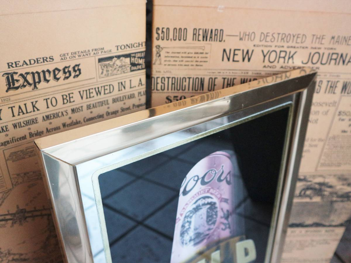 ビンテージ Coors COLD GOLD パブミラー クアーズ アメリカ インテリア小物 看板 壁掛け 飾り ウォールデコ BAR 鏡_画像3