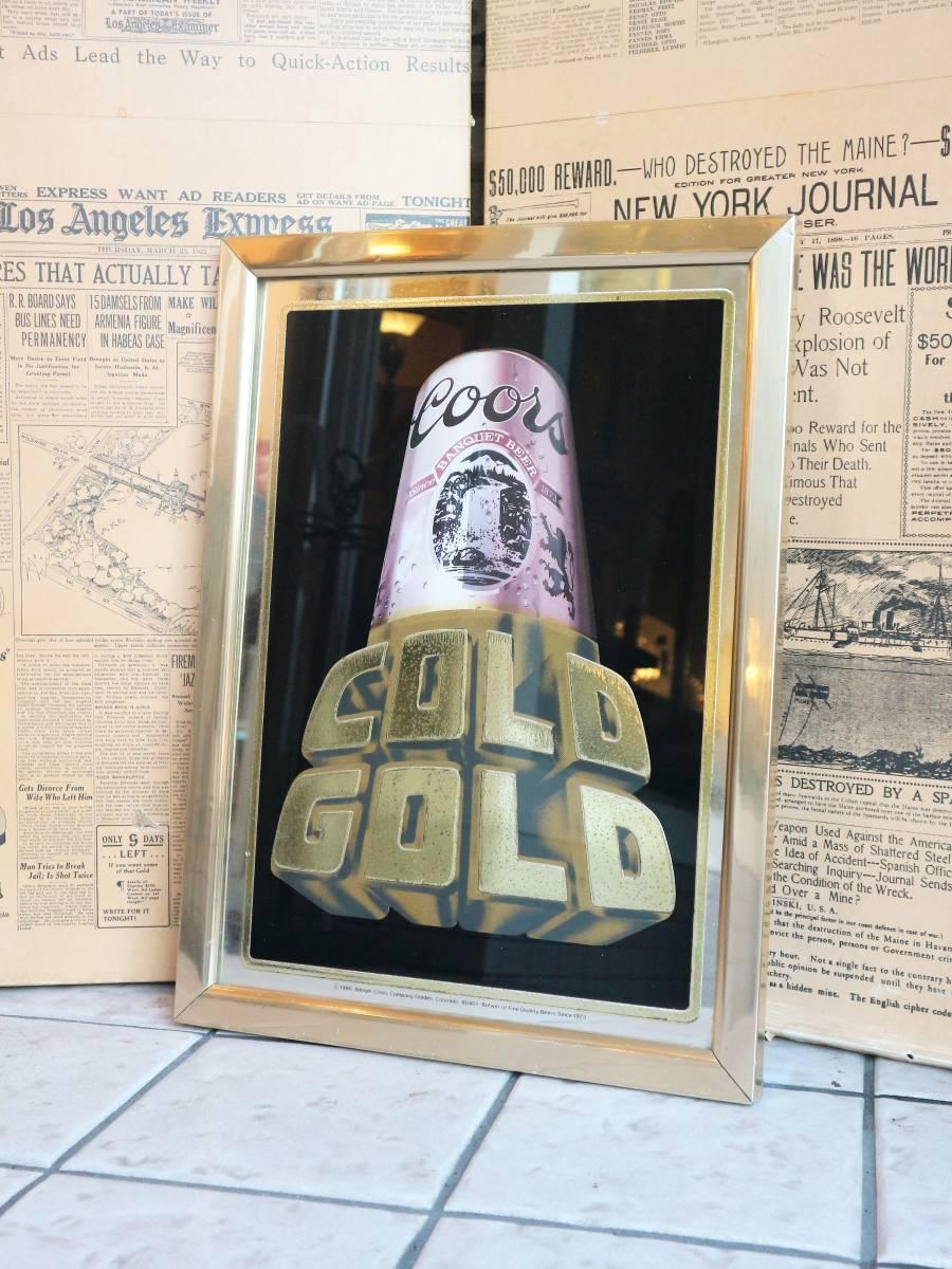 ビンテージ Coors COLD GOLD パブミラー クアーズ アメリカ インテリア小物 看板 壁掛け 飾り ウォールデコ BAR 鏡_画像1