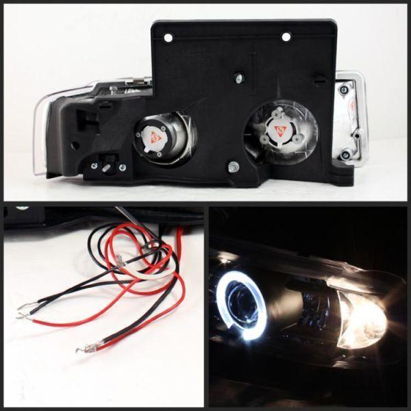 USヘッドライト ブラック1995-2005シボレーアストロGMCサファリLEDハロープロジェクターヘッドライト左+右_画像2