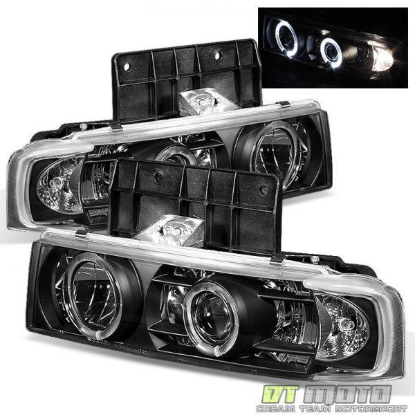 USヘッドライト ブラック1995-2005シボレーアストロGMCサファリLEDハロープロジェクターヘッドライト左+右_すべて新品・未使用の商品となります!