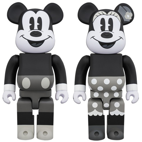 = Disney BE@RBRICK MICKY MOUSE (B&W Ver.) 400% &MINNIE MOUSE (B&W Ver.) 400% SET(ベアブリック ディズニー ミッキー ミニー_画像1