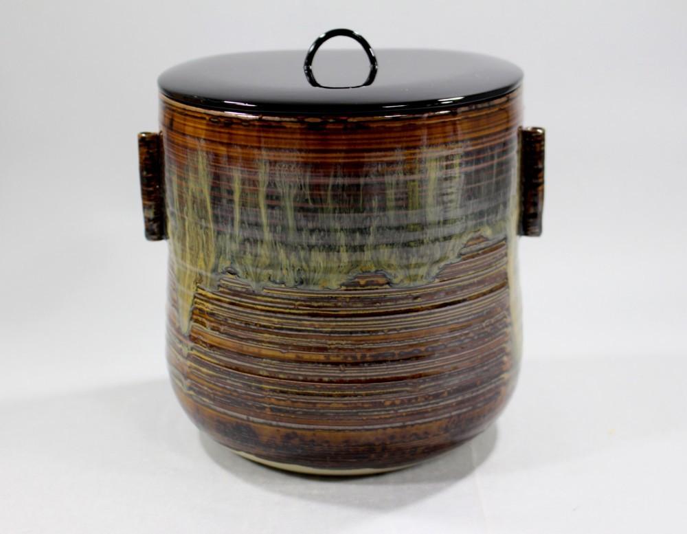 茶道具 高取黄釉管耳水指 味楽窯 亀井正久造◆rk11_画像4