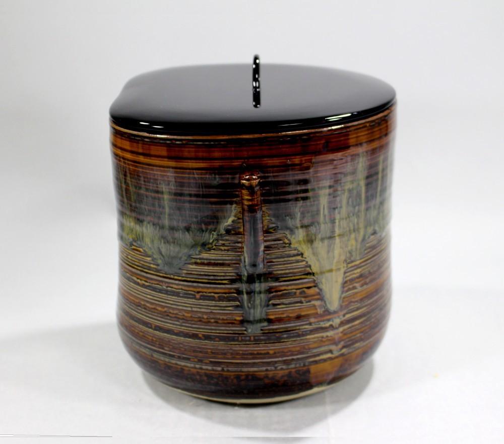 茶道具 高取黄釉管耳水指 味楽窯 亀井正久造◆rk11_画像3
