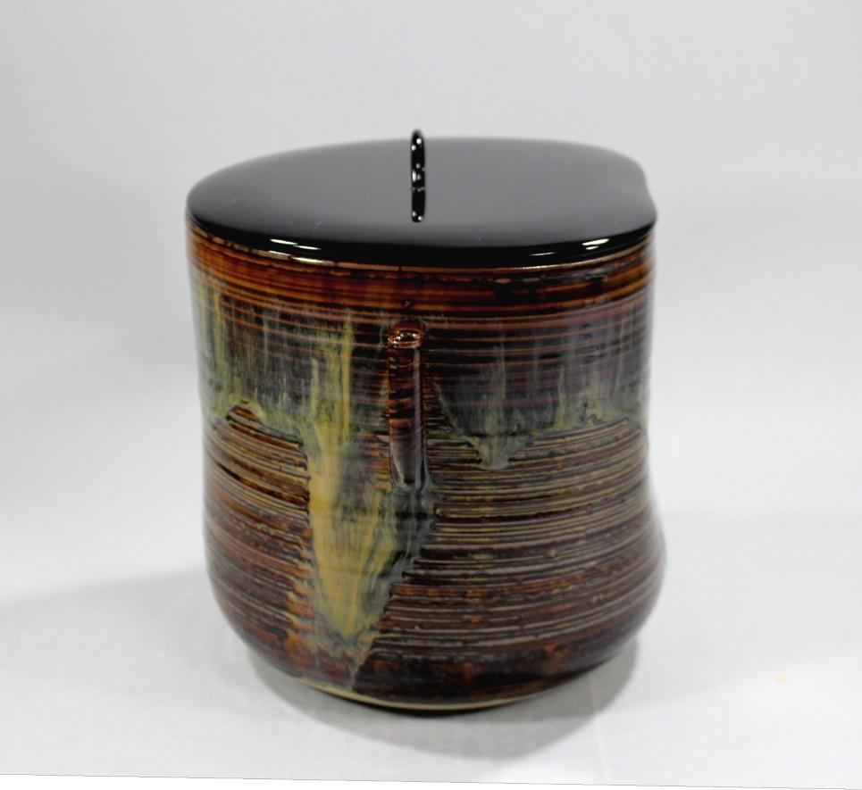 茶道具 高取黄釉管耳水指 味楽窯 亀井正久造◆rk11_画像5