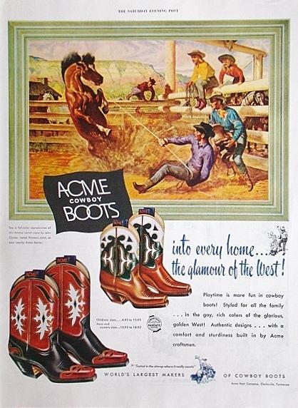 稀少!1950年Acme Boots広告/ウェスタンブーツ/カウボーイ/馬/M