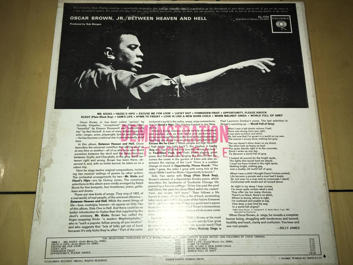 LPレコード/プロモ盤/US盤/CL1774●オスカーブラウンジュニアOscar Brown Jr. / Between Heaven And Hell_画像2