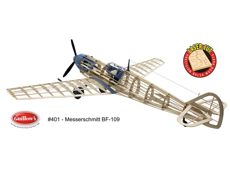 """【ゴム動力機】Guillow's製400シリーズ(L/C仕様)Me109(翼長:24.4""""=619mm)・・・1_画像3"""