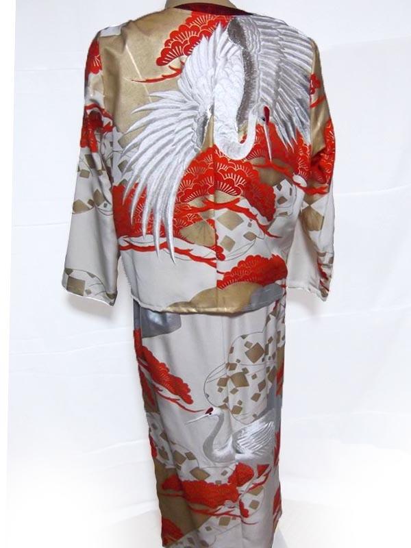 ●[901]古布 打掛からのリメーク 上着&ロングスカート パーティーや結婚式などに素晴らしい鶴の絵です:大幅値下げ