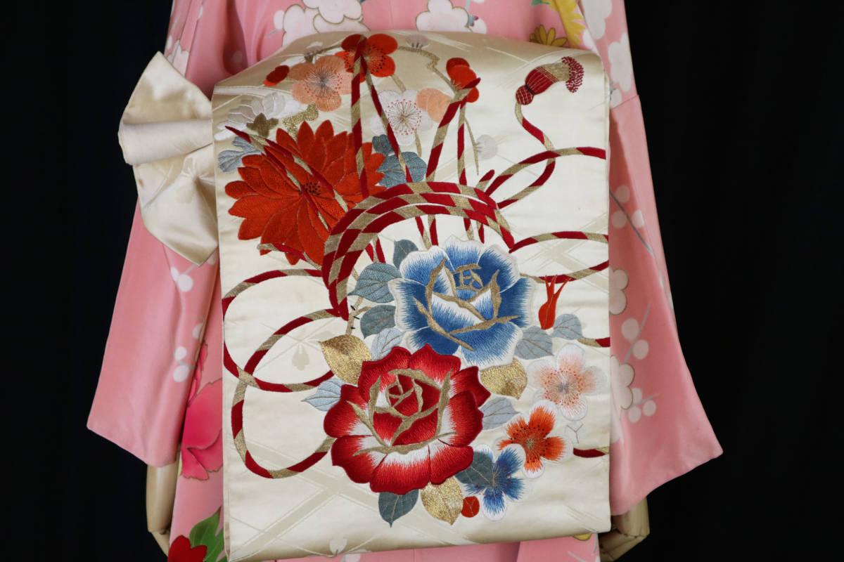 ★☆★アンティーク大正ロマン バラ、菊、梅の花鼓手刺繍丸帯★送料無料☆★