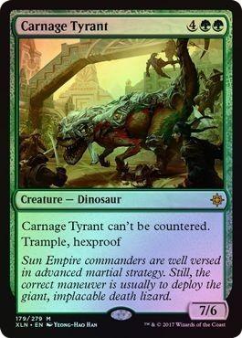 え緑Foil 殺戮の暴君 1枚(2枚在庫x 英 良品 XLN)/Carnage Tyrant(MTG /イクサラン/Ixalan/)_画像1