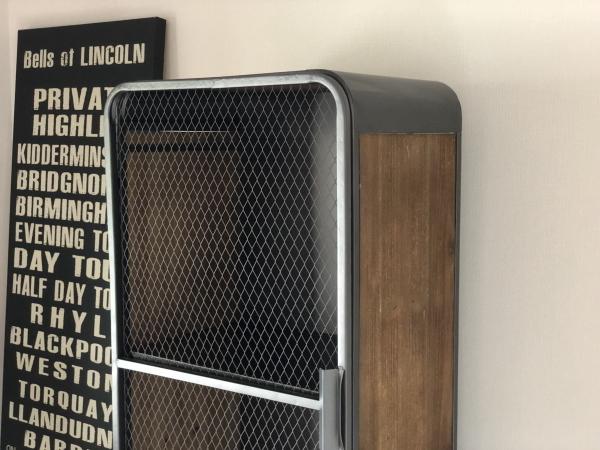 メッシュ 2段キャビネット インダストリアル 西海岸 ブルックリンスタイル アイアン・ウッド 完成品(脚取り付けあり) 棚 ラック_画像4