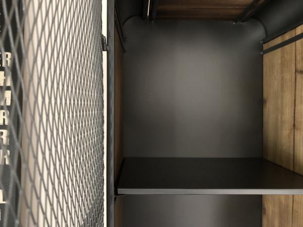 メッシュ 2段キャビネット インダストリアル 西海岸 ブルックリンスタイル アイアン・ウッド 完成品(脚取り付けあり) 棚 ラック_画像6