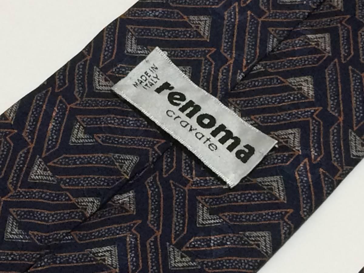 【現品限り】renoma/レノマ■中古ブランドネクタイ■ネイビー/パターン柄■送料無料■2545_画像5
