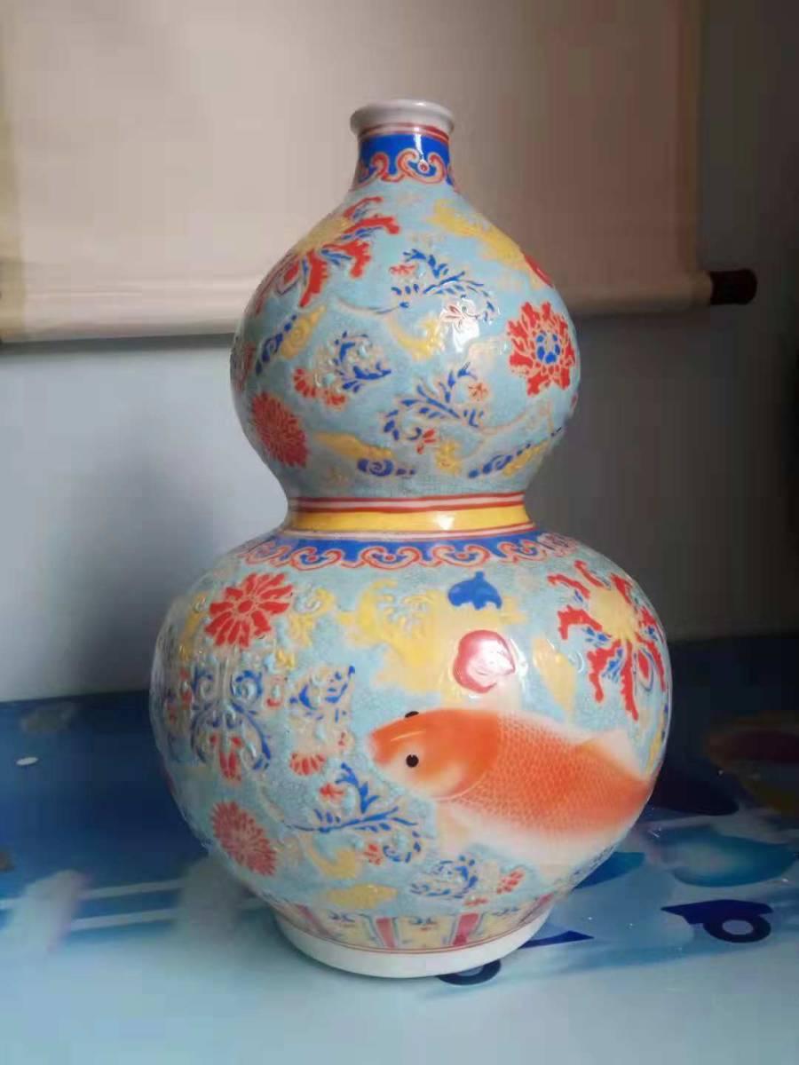 大清 乾隆年製款 宮廷用琺瑯彩瓢箪瓶  SC-1-日本代购网图片2链接