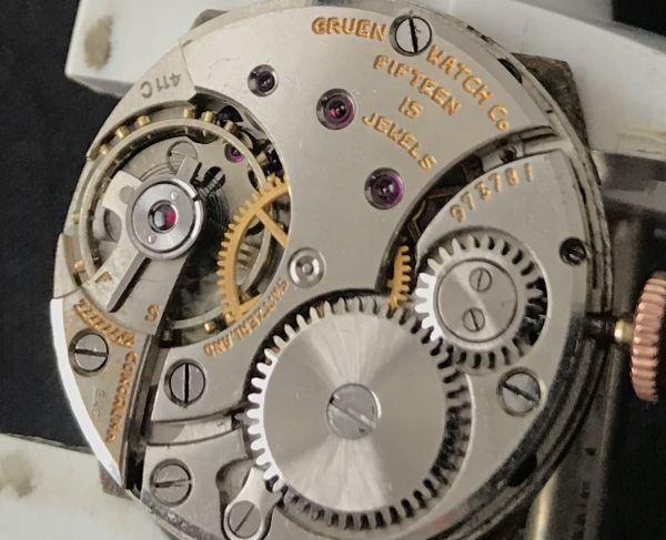 ☆迷人的玫瑰金☆[Guruen(GRUEN)☆裝飾藝術]古董10金緊手捲男士手錶☆ 編號:d322293878